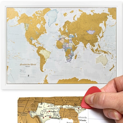 Scratch off map as a gift for travelers