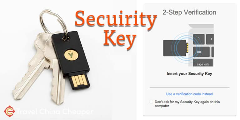 Travel safe with a security key from Yubicon.