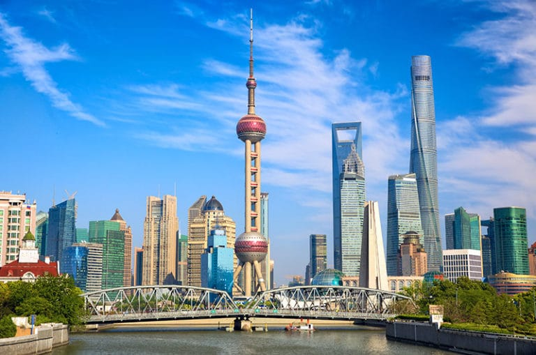 The gorgeous Shanghai Skyline! There are so many places to visit in Shanghai, China.