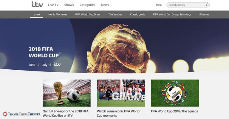 Using a VPN you can stream the World Cup in China as if you were in the UK.