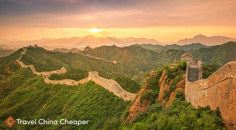 Sunset at the Great Wall of China, one of the must-see sights in Beijing
