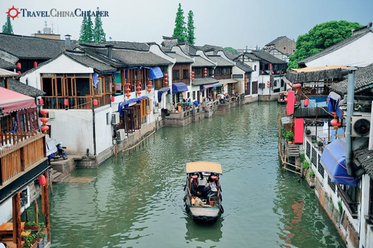Restaurants along the canal in Suzhou, China
