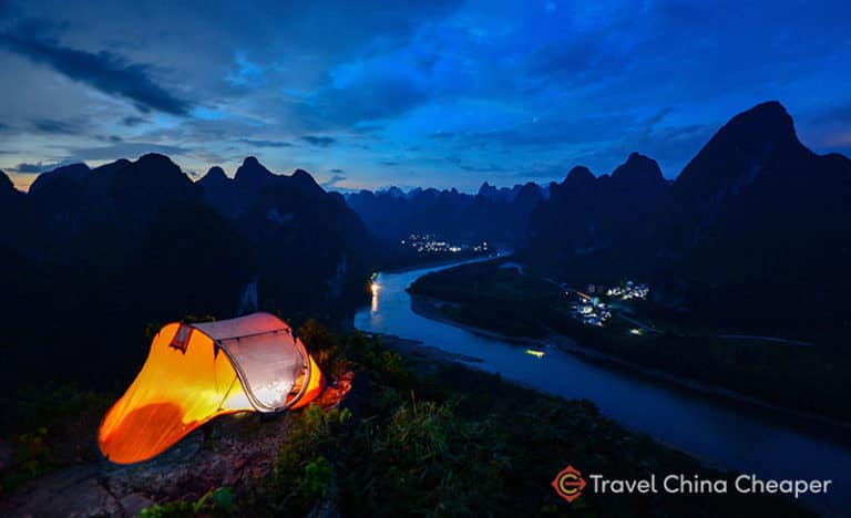 Beautiful scenery in Guilin, China with a tent for camping.