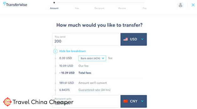 Exchanging money between USD and CNY on the Transferwise website