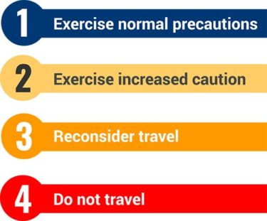 Travel Advisory levels from the U.S. State Department
