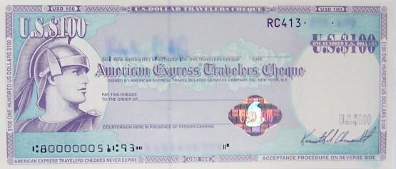 An example traveler's cheque