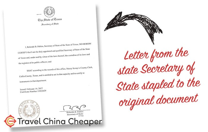 A document authenticated by a US state Secretary of State for the purpose of a notarization in China