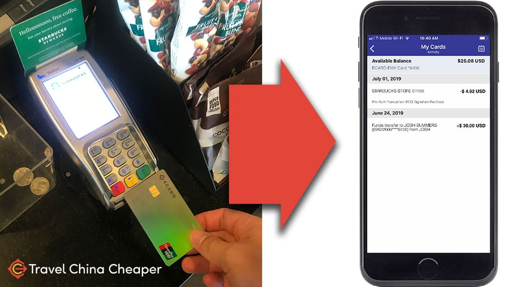 Using UnionPY at Starbucks and seeing the transaction on the app