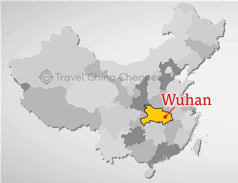 Map of Wuhan, Hubei in China