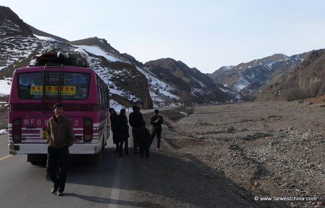 A pit stop on the side of the road in Xinjiang, China