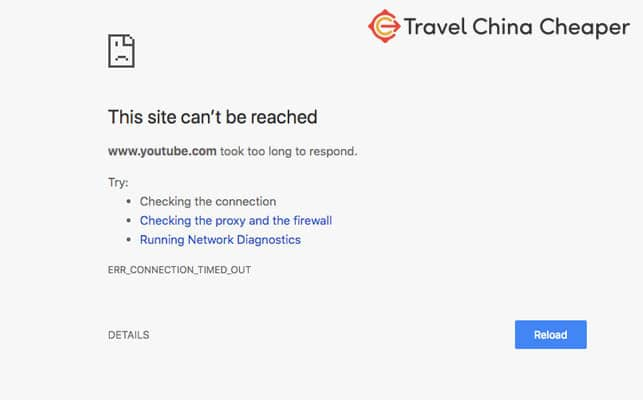 Blocked: Since YouTube is blocked in China, you have to use a VPN to access it