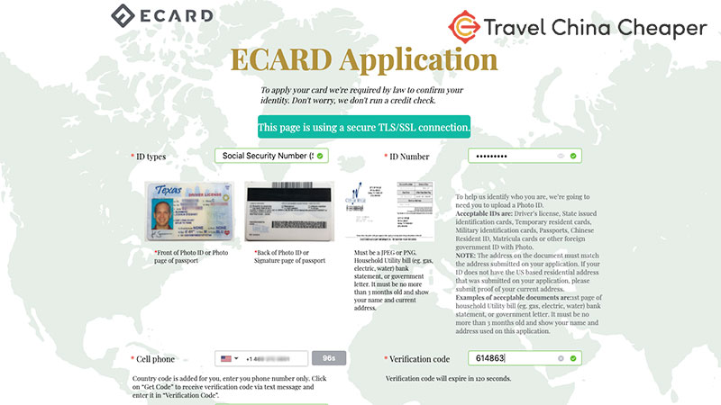 Applying for eCARD, which gives me a UnionPay card.
