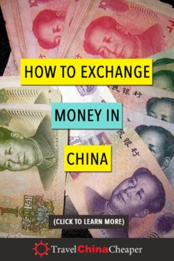 Pin this image about exchanging cash in China