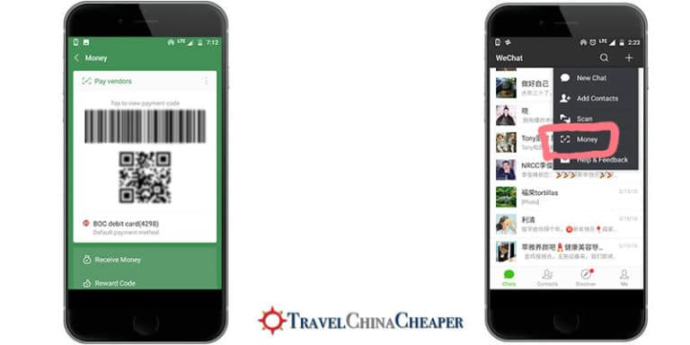 Paying using WeChat Wallet and the QR code