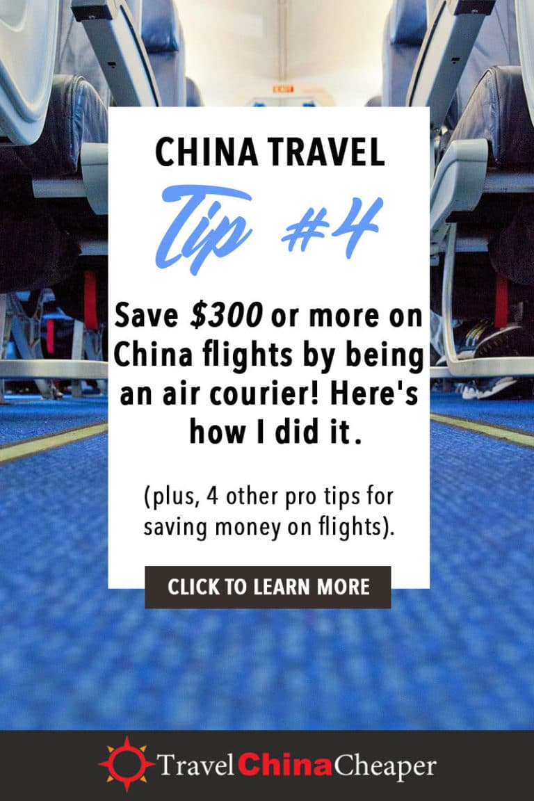 Save $300 or more on China flights by being an air courier! Here's how I did it. Click to learn more! | China Travel Guide | How to Buy Cheap China Flights | 5 Simple Steps | Expat in China | China Travel Blogger | Asia Travel Guide #China #chinatravel #travelChina #expatinchina #chinaexpat